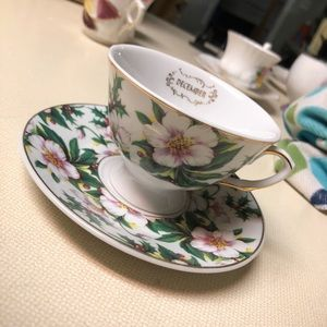 1898 China Co. December Green & Pink Cup & Saucer
